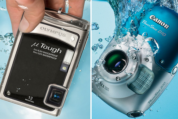 Two Waterproof Ultra-Compact Cameras Splash Off